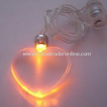 Flashing Necklace, Powered by Battery, Available in Various Color Pendants and Colors