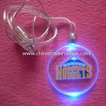 LED Flashing Magnet Necklace in Round Shape, with Ø4cm Size, Customized Logos are Accepted
