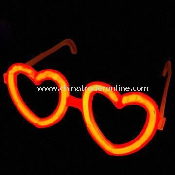 Glow-in-dark Heart Glasses with 8-inch Glow Stick, Ideal for Party Light