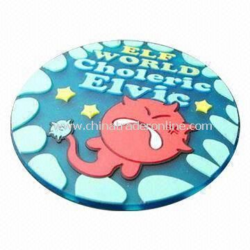 PVC Rubber Cup Coasters/Cup Mats/Cup Pads, ODM and OEM Orders with 2D or 3D Logos Welcomed