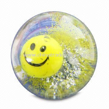 High-bounce Glitter Water Ball in 45/55/65/85/103mm Size, Customized Deisgns are Accepted