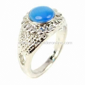 Blue opal ring, made of alloy and opal, available in various designs and colors