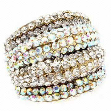 Fashionable Ring, Made of Alloy and Rhinestones, Nickle- and Lead-free