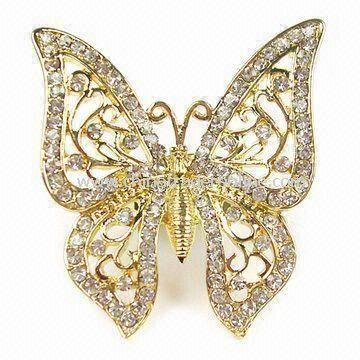 Gold-plated Metal Alloy Ring Jewelry in Butterfly Design from China