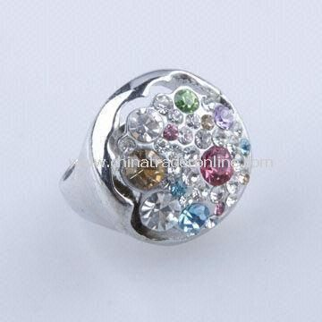 High-Grade Alloy-plated Platinum Womens Ring with Colorful Rhinestone, Available in Fashion Style