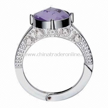 Zinc-alloy Ring with Crystal and Chrome Plating, OEM Orders are Welcome