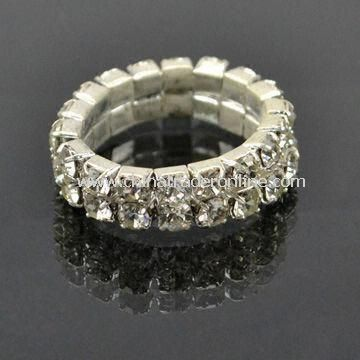 Diamond ring, made of alloy and rhinestones, available in various designs