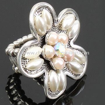 Ring, Made of Alloy with White Pearls, Customized Designs and Logos are Accepted from China