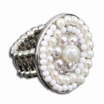 Ring, Made of Alloy with White Pearls, Various Designs are Available