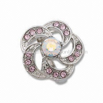 Ring with CZ Rhinestone, Made of Alloy, OEM Orders are Welcome, Can Make Mold