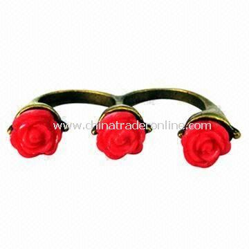 Rose Flower Tow Finger Ring, Nickel- and Lead-free, Eco-friendly