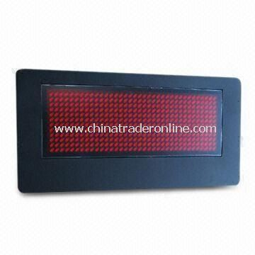 LED Name Badge, Available in Red Color and 45 x 90mm Frame Size