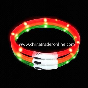Pet Collar with LED Flash Lights and Rechargeable Battery, Environment-friendly