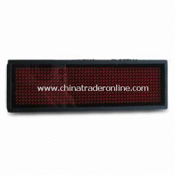 Red LED Name Badge with 25, 50, 75 and 100% Brightness