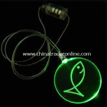 Circle Plastic Flashing Necklaces, Measures 42mm, with Round Pendent and Jade LED