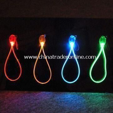 LED Flashing Strap for Cell Phones and Keychains, Made of ABS Case/PU Wire from China