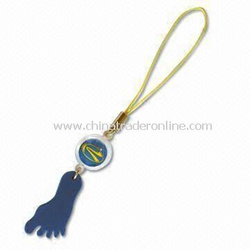Mobile Phone Strap with Flashing LED, Made of ABS, PS, and PC, Available in Various Sizes