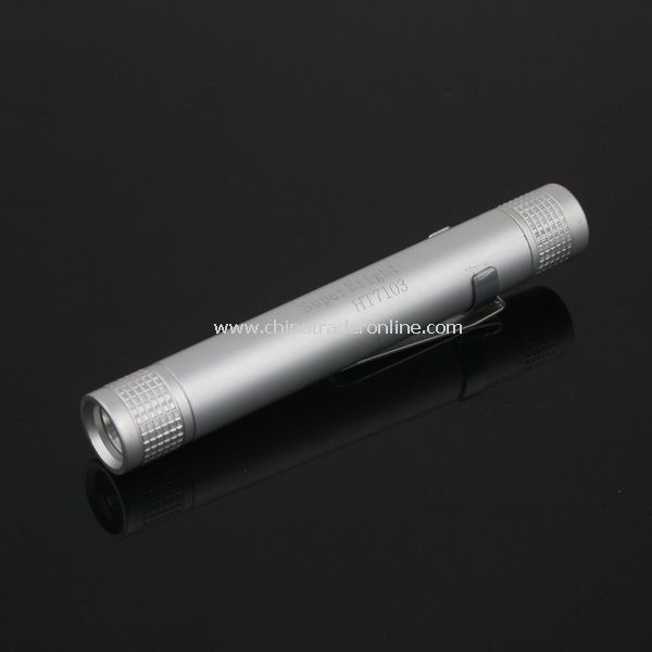 Mini Aluminum 3W LED Flashlight Torch w/Clip Silver