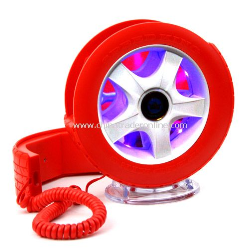 Creative Wheel Shaped Wired Table Telephone with Light