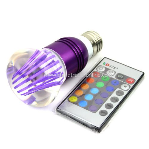 E27 Crystal Glass Umbrella 16 Color Change RGB 3W LED Light Bulb Lamp w/Remote Control