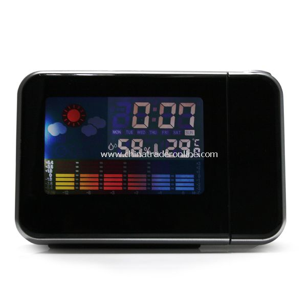 LED Light LCD Projection Digital Weather Thermometer Alarm Clock Snooze Station