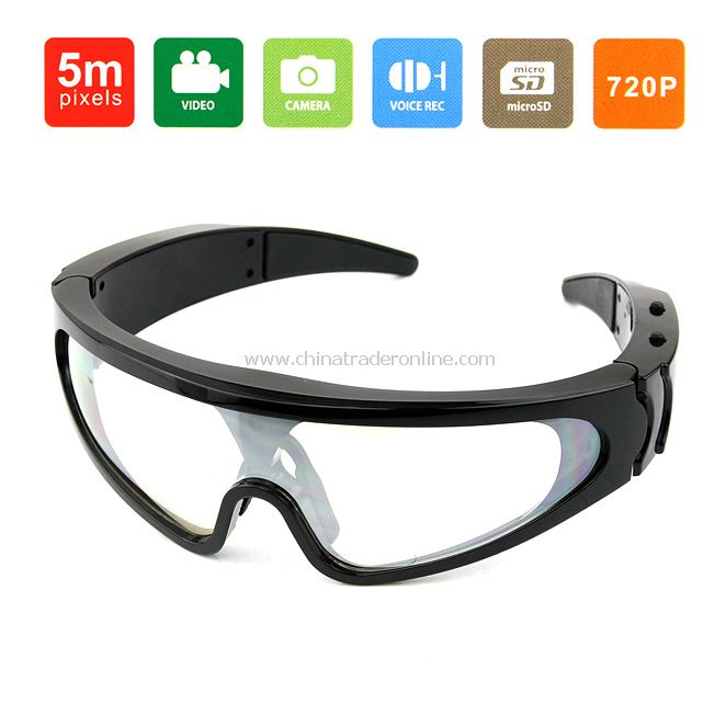 New Mini HD DV Camera Eyewear Mens Sport UV Black Frame Sunglasses 1280*720
