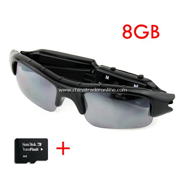 Video Sunglasses Mini HD DV DVR Camera Black + 8GB TF Card