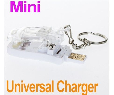 Mini Fashion Portable keychain USB Universal Charger for cell phone battery with Key Ring free shipping drop shipping
