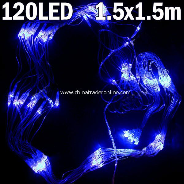 Blue 120-LED String Lamp Light (1.5 x 1.5m) Christmas & Halloween Decoration for Party Wedding