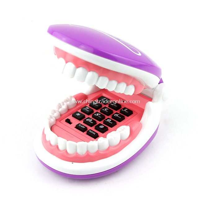 Flexible Cable Smiling Teeth Shaped Foldable Telephone New