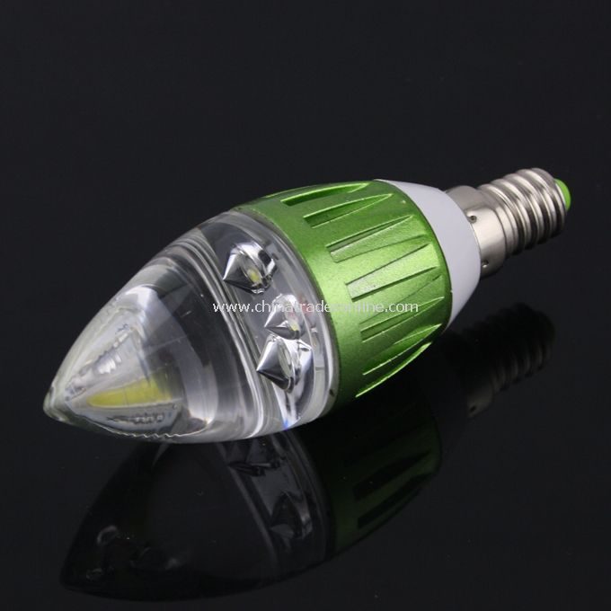 E14 3W 270LM 85-265V Pure White Bright LED Crystal Candle Lamp Light Bulb