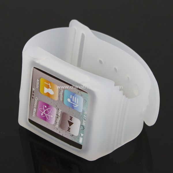 Sports Design Watch Face Silicone Wrist Strap Band Soft Skin Case Cover for iPod Nano 6th - White