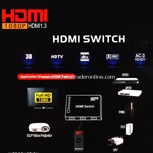 3 Port Way HDMI Switch Switcher Splitter HDTV with Remote