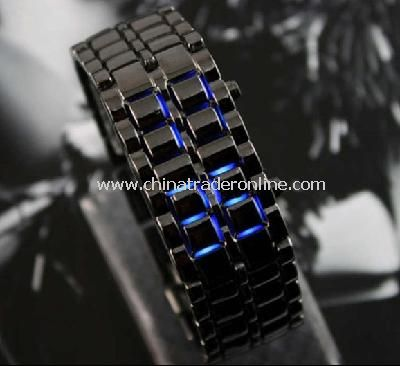 Black Stainless Steel LED Blue Digital Unsex Bracelet Watch