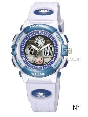 HighQuality Fashion PASNEW LED+Pointer Water-proof Dual Time Boys Sport Watch