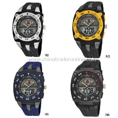 HighQuality PASNEW LED+Pointer Water-proof Dual Time Boys Sport Watch from China