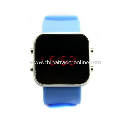 New Mens Silicone Band LED Sports Wrist Watch Blue from China