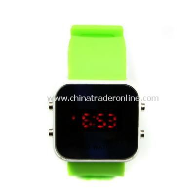 New Mens Silicone Band LED Sports Wrist Watch Green from China