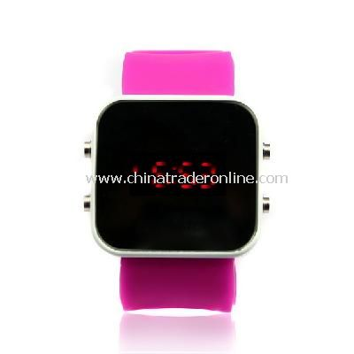 New Mens Silicone Band LED Sports Wrist Watch P-purple
