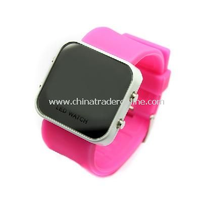 New Mens Silicone Band LED Sports Wrist Watch Pink from China