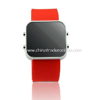 New Mens Silicone Band LED Sports Wrist Watch Red