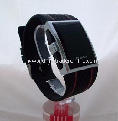 Red LED Mens Digital Electronic LED Watch Red Light Black