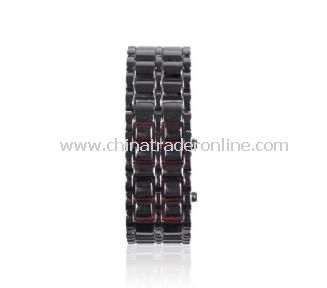 72-LED Red Light Matrix Leather Watch/Wristwatch (Black)