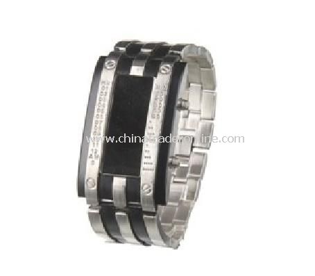 Fashion Sector Revolving Steel Glass Mens LED Wrist Watch