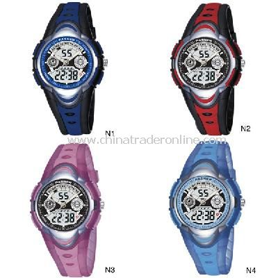 HighQuality PASNEW LED+Pointer Water-proof Dual Time Boys Girls Sport Watch