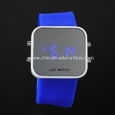 New Mens Silicone Band LED Sports Wrist Watch blue