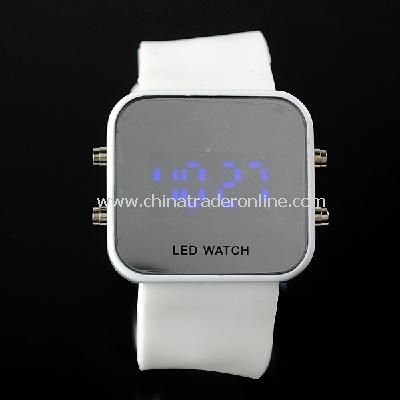 New Mens Silicone Band LED Sports Wrist Watch White