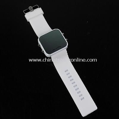 New Men's Silicone Band LED Sports Wrist Watch White
