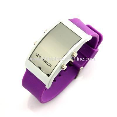 New Unisex Silicone Band LED Sports Wrist Watch purple