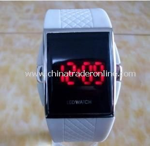 Red LED Mens Digital Electronic LED Watch Red Light white